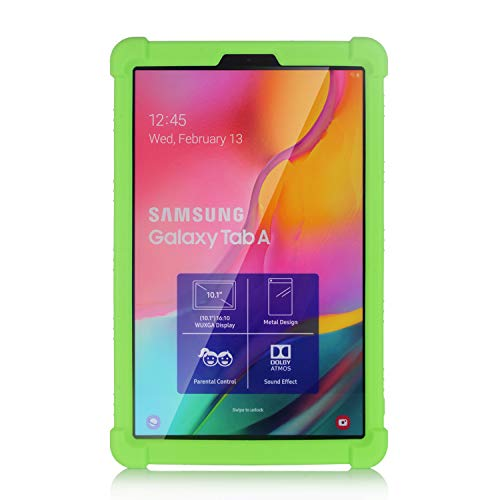 Oneyijun Green Stand Silicone Skin Pouch Protection Case Protective Cover Case for Samsung Galaxy Tab A T510 T515 2019 10.1 inch Tablet