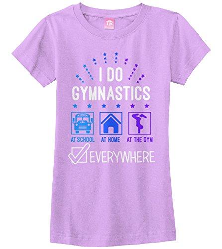 Threadrock Big Girls' I Do Gymnastics Everywhere Fitted T-Shirt S Lavender