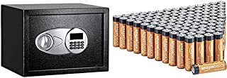 Amazon Basics Tresor, 14 l, Schwarz & AA Alkalibatterien, leistungsstark, 1,5V, 100 Stück (Aussehen kann variieren)
