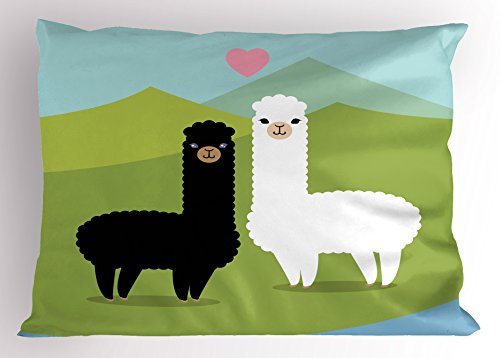 Ambesonne Llama Pillow Sham, Alpacas in Love in The Mountains Argentina Fauna Animals with Contrasting Colors, Decorative Standard King Size Printed Pillowcase, 36