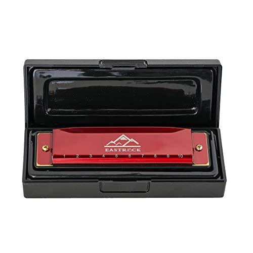 EastRock Mundharmonika C-Dur Harmonica mit Box 10-Loch Mundharmonika für Student, Fortgeschrittene und Anfänger Silber und Schwarz (Rot)