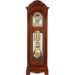 Howard Miller Kinsley Floor Clock 611-196 – Golden Oak Grandfather Vertical Home Decor with Illuminated Dial & Cable-Driven, Single-Chime Movement
