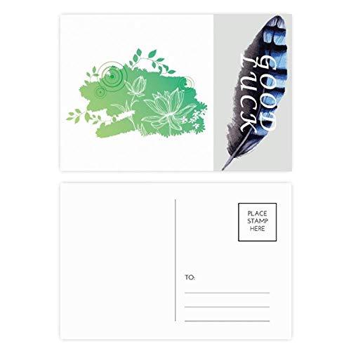 Lotusblüte, Froschblätter, Pflanze, Blume, Glücksfeder, Postkarten-Set, Dankeskarte, 20 Stück