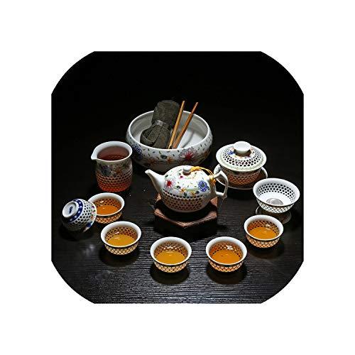 11-teiliges Kung-Fu-Teeset aus weißem Porzellan, Teetasse, Teekanne, Gaiwan, Teetasse, Teetasse, Teetasse, Gaiwan, Fair Cup,P