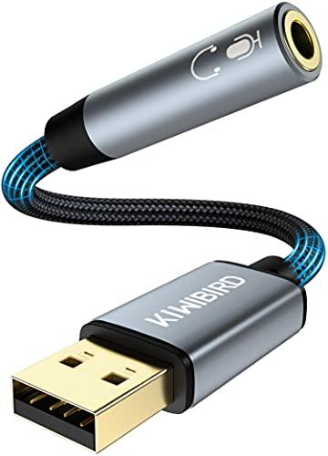 KiWiBiRD Adattatore Jack da USB a 3,5mm, Jack Cuffie USB con Microfono, 4 poli TRRS, Scheda audio stereo con DAC per MacBook Surface PS4 Portatile, non funzionante su Auto, TV, Proiettore, Xbox, PS3