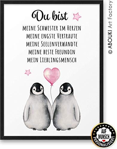PINGUIN Du bist meine beste Freundin ABOUKI Kunstdruck - ungerahmt - auf Wunsch personalisierte Geschenk-Idee Geburtstag Weihnachten Freundschaft für Sie Frau Freundinnen