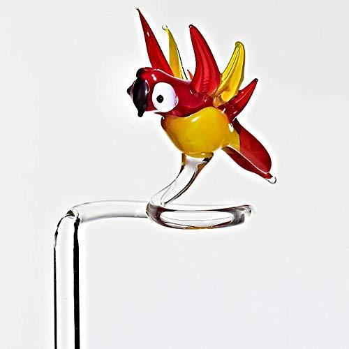 CRISTALICA Orchideenstab Vogel Blumen 45cm Glas Blumenstab Figur Zubehör Deko Geschenk