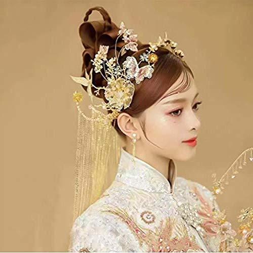 QWEASD Headdress Atmosferische Vlinder Bloem Kralen Gevlochten Phoenix Phoenix Show wo Kleding Draak en Phoenix Jurk Headdress Chinese Bruiloft Accessoires