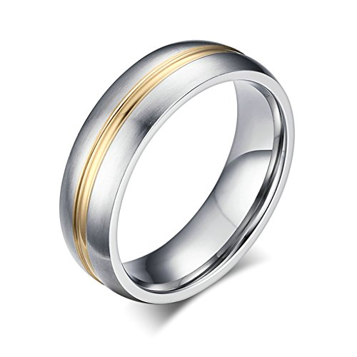 SonMo 6MM Titan-Stahl Ring Herren Streifen Bicolor Bandring Trauringe Silber Herzen Silber Gold Größe:65 (20.7)