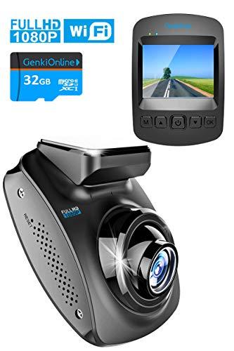 Mini WiFi Autokamera Dashcam Fahrten-Aufzeichnung in Full HD 1080P, Bewegungs- und 3-Achsen-Beschleunigungssensor/G-Sensor, 170°-Weitwinkel, App und inkl. 32GB Hi-Speed MicroSD Speicherkarte