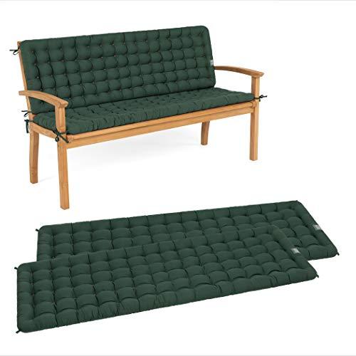HAVE A SEAT Luxury - Sitzpolster-Set mit Rückenteil für Gartenbank, Bequeme Gartenbankauflage, waschbar bis 95°C, pflegeleichtes Sitzbank Polster, Made in Germany (120 x 48 cm, Moosgrün)