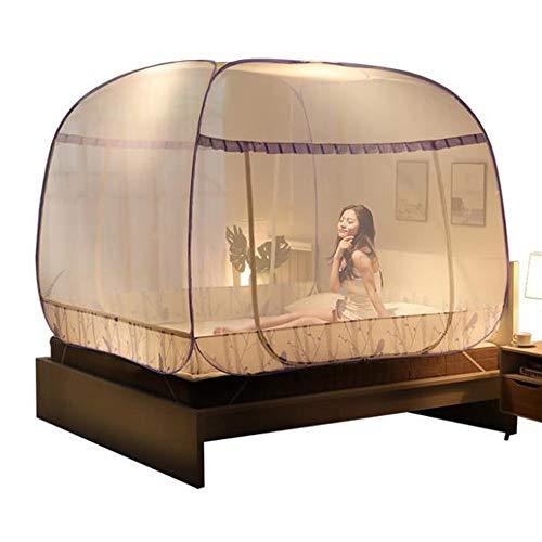MMRLY Pop Up Mosquito Net Carpa, al Aire Libre Mongolian Yurt Puerta Doble Plegable con picadas de Mosquitos contra la Parte Inferior para la Cama Camping Travel Home Outdoor,2.0mbed