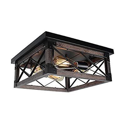 Baiwaiz Farmhouse Flush Mount Cage Lighting, Square Black Metal and Wood Rustic Close to Ceiling Light Industrial Kitchen Living Room Bedroom Ceiling Light Fixture 4 Lights Edison E26 BW17140