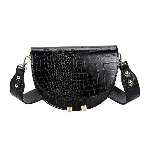 Schultertasche Fashion Frauen Umhängetasche Tasche Krokodil-Halbrund Satteltaschen aus weichem Leder Schultertasche for Damen Handtaschen Designer Damen Handtasche (Color : A)