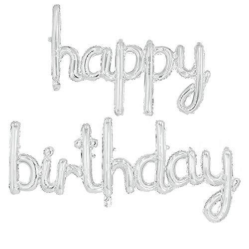 Silver Happy Birthday Letters Foil Mylar Balloon Banner 16 Inches Hand Write Happy Birthday Balloons for Birthday Party Decorations Supplies