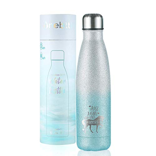 Horse Gifts for Girls, Women, Insulated Stainless Steel Water Bottle, Equestrian Gifts for Horse Lovers, Cowgirls, for Birthday,Christmas, Back to School, Silver-Blue Gradient Glitter, Onebttl