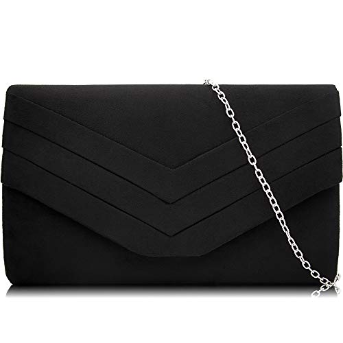 Milisente Evening Bag for Women, Suede Envelope Evening Purses Crossbody Shoulder Clutch Bag (Black)