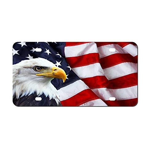 North American Bald Eagle License Plate Aluminum Metal License Plate Car Tag Novelty Home Decoration for Women Girls Men Boys 6 inch X 12 inch