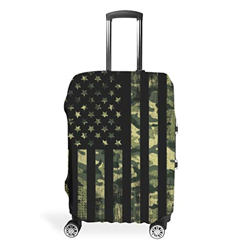 Green Camouflage American Flag Suitcase Covers Protective Cover Polyester Case Travel Case