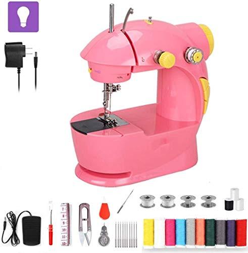 JWCN Nähmaschine Mini-Nähmaschine mit ausziehbarem Tisch Elektrisches Pedal Schnell und einfach zu handhaben Tragbares Nähmaschinenzubehör für Anfänger Schnelles Nähen Lila-Rosa Uptodate