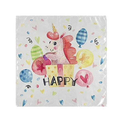Mr.Lucien Servilletas de tela de unicornio, diseño de animales de dibujos animados, servilletas de cena de poliéster, lavables servilletas de almuerzo para fiestas, bodas, cenas de 20 x 20 x 6 2020083