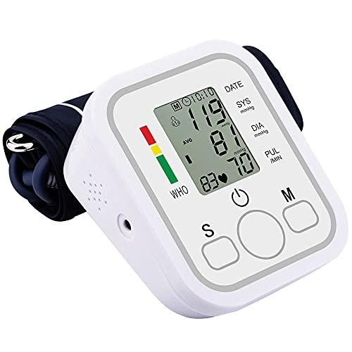 Misuratore di Pressione Sanguigna da Braccio,Misuratore di Pressione Arteriosa Digitale,Sfigmomanometro Elettronico,Misura Pressione e Frequenza Cardiaca con LCD e 2 Utenti/2 * 99 Misurazioni Memoria