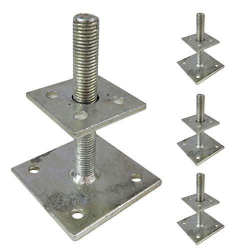 4 St. Pfostenträger höhenverstellbar zum Aufschrauben für Pfosten 7x7 und 9x9