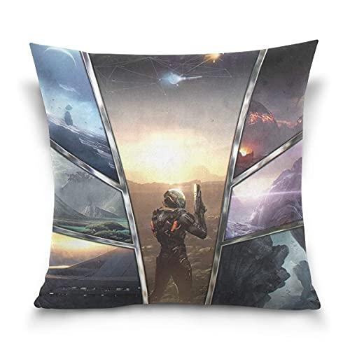 Mass Effect Cotton Velvet Soft Decorative Square Pillowcase Cushion Cushion Pillowcase Home Decoration Sofa Sofa Bed Chair Kissenbezüge 24x24Inch(60cmx60cm)
