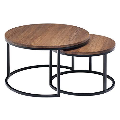 Hochwertiger Couchtisch aus Eiche & Metall - Satztisch aus Massiv Holz im 2er Set | Wohnzimmertisch aus Echtholz | Moderner Massivholz Beistelltisch - Rund & Kompakt - 50 cm Hoch | Dunkelbraun