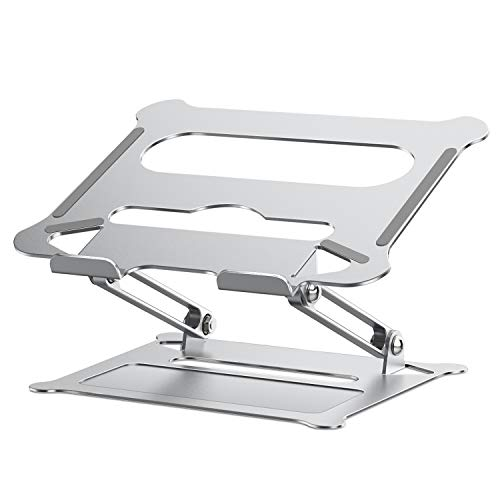 Sross Laptop Stand, Aluminum Computer Riser, Ergonomic Laptops Elevator for Desk, Adjustable Notebook Stand for Mac MacBook Pro Air, Lenovo, HP, Dell, More 10-17 Inch PC Notebook (Silver)