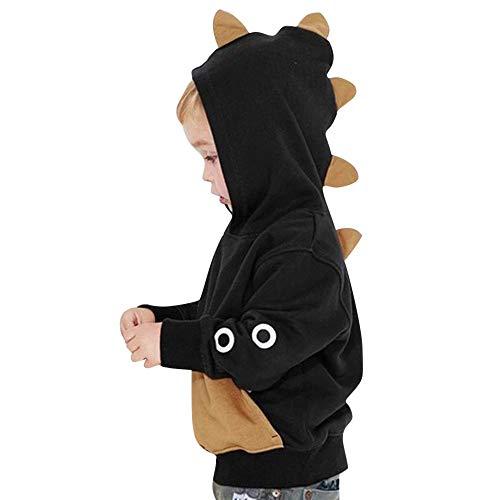 Xmiral Kinder Langarm-Kapuzen Dinosaurier Top Sweatshirt Hoodie Tops T-Shirt Baby Jungs Langarm Bekleidung(Schwarz,3-4 Jahre)