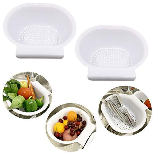 2PCS white Plastic ColandersStrainer basket beans washing vegetables and food basket hand free with hook on sink divider