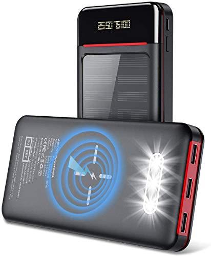 Aikove Batería Externa 26800mAh Cargador Portátil Móvil Inalámbrico, Solar Power Bank con 2 Entrada(USB C&Micro) y 3 Puertos, Linterna LED y LCD, Ultra Capacidad pere Smartphones (Nergo)