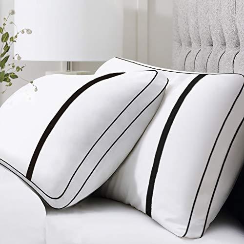 BedStory Almohadas Fibra Almohada de 42 x 70cm con Relleno 3D Fibra Mantiene la Forma Almohadas Antiácaros para de Cama Almohadas para Hoteles【Nueva Versión】 Pack de 2 Negro