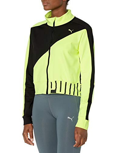 PUMA Run/Train/FIT Chaqueta calentadora, Black-Fizzy Amarillo, XL para Mujer