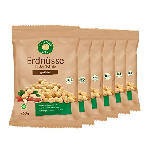 6x CLASEN BIO Erdnüsse in der Schale geröstet - 250 g