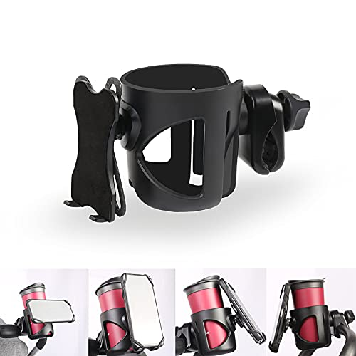 Pram Cup Holder, 2 in 1 Universal Cup Holder for Stroller/Baby Buggy/Wheelchair/Pet Strollers Cup Holder, 360 Degrees Adjustable Rotation Universal Baby Bottle Organizer, Black【UK Direct】