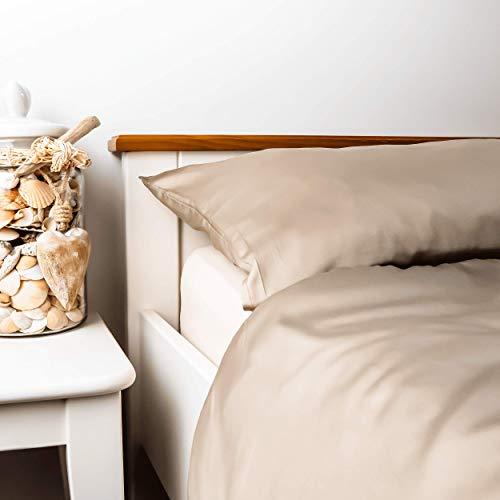 kosier Ropa de cama de 135 x 200 cm con funda de almohada de 80 x 80 cm – especialmente sostenible de 100 % bambú Lyocell, ropa de cama cálida de invierno para alérgicos, funda nórdica en dorado beige