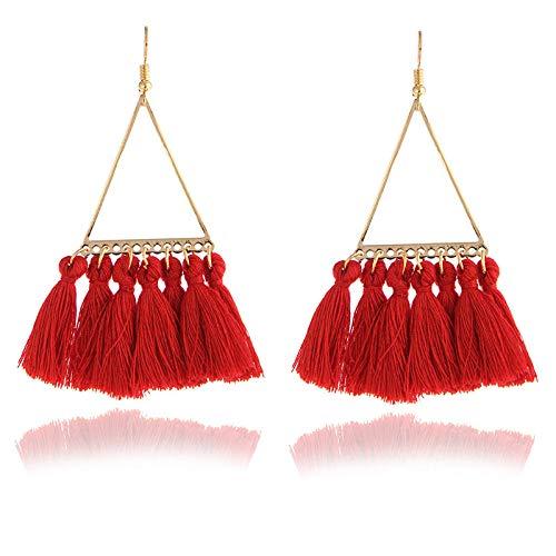 XAOQW 26 Stili di Orecchini Nappa Nappine Nappine Bohémien Moda Etnica Lunga Orecchini Pendenti Donna Gioielli Modello 1-Rosso