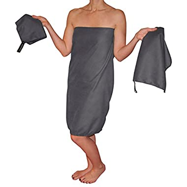 Country Bound 3-Piece Microfiber Travel Towel Set - Light Gray
