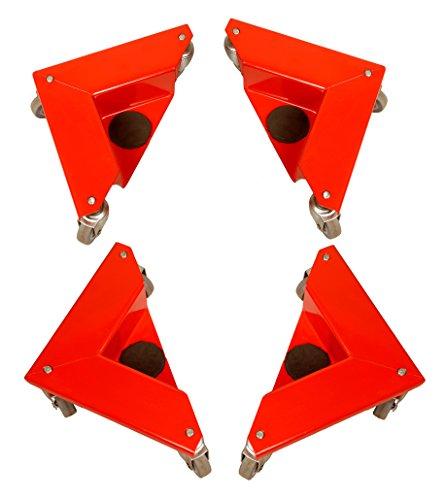 T-EQUIP 4x Transportecken COR-150, 4er-Set, Transportecken für Gegenstände ohne Beine, 150kg Tragfähigkeit, Rot