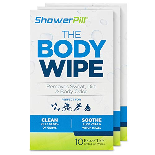 The Body Wipe by ShowerPill - No Shower Wipes for Adults for Post-Workout or Camping Bathing - 30 Individually Wrapped Wipes