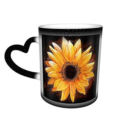 Taza cambiante de girasol Taza de café con diseño de cerámica Taza sensible al calor Taza que cambia de color en el cielo, 11 oz