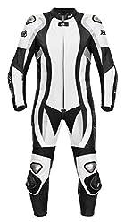 XLS Lederkombi Einteiler in schwarz weiß hochwertige einteilige Motorradkombi