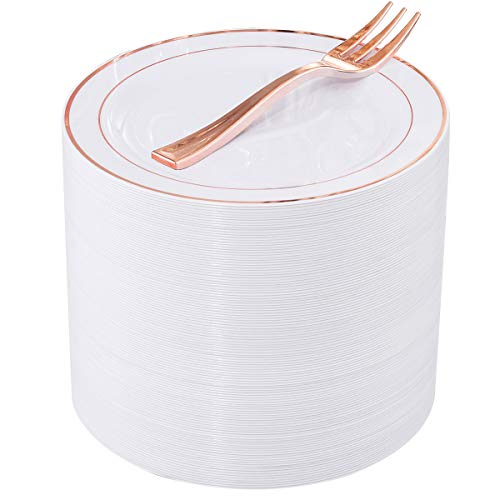 240 Pieces Rose Gold Plastic Dessert Plates with Disposable Dessert Forks, Includes 120 Pcs Appetizers Plates 6.5 inch, 120 Pcs Rose Gold Forks 5.12 inch, Perfect for Parties and Weddings