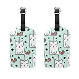 Etiquetas de equipaje con diseño de gato y unicornio, para hombres y mujeres, crucero, etiquetas personalizadas de privacidad para bolsa de viaje, maleta de piel, juego de 2 con hebilla