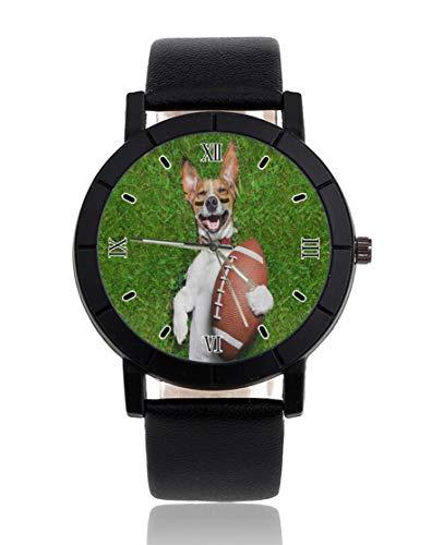 Armbanduhr mit Fußballtor, personalisierbar, leger, schwarzes Lederband, Armbanduhr für Herren und Damen, Unisex