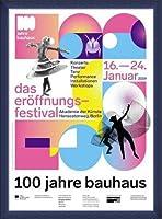 ポスター バウハウス 100 Jahre Bauhaus Festival 2019 white 額装品 ウッドベーシックフレーム(ブルー)