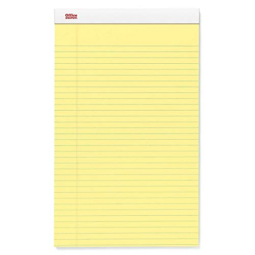 Office Depot Perforated Writing Pads, 8 1/2in. x 14in, Legal Ruled, 50 Sheets, Canary, Pack of 12 Pads, 99420