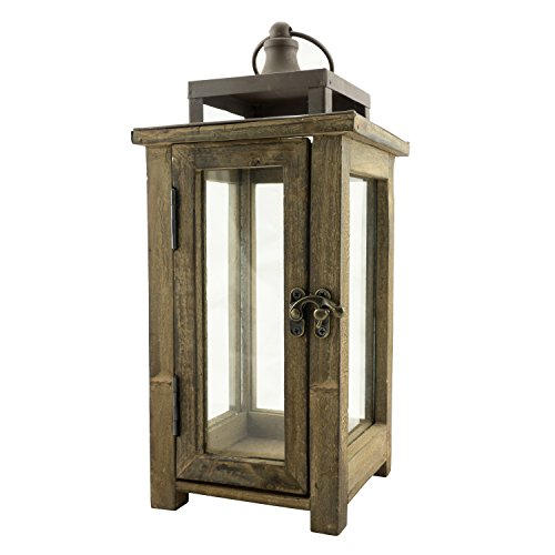 Stonebriar Decorative Wooden Candle Lantern, Use As Decoration for Birthday Parties, a Rustic Wedding Centerpiece, or Create a Relaxing Spa Setting, For Indoor or Outdoor Use, Small